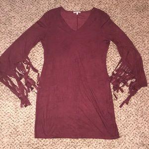 Maroon velvet dress with Fringe 💕